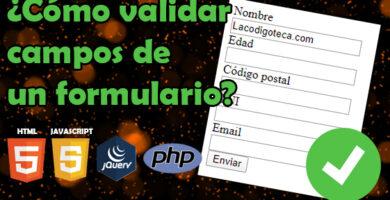 Validar campos formulario